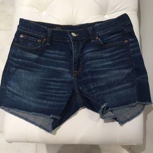 Jcrew indigo denim cut-off jean shorts